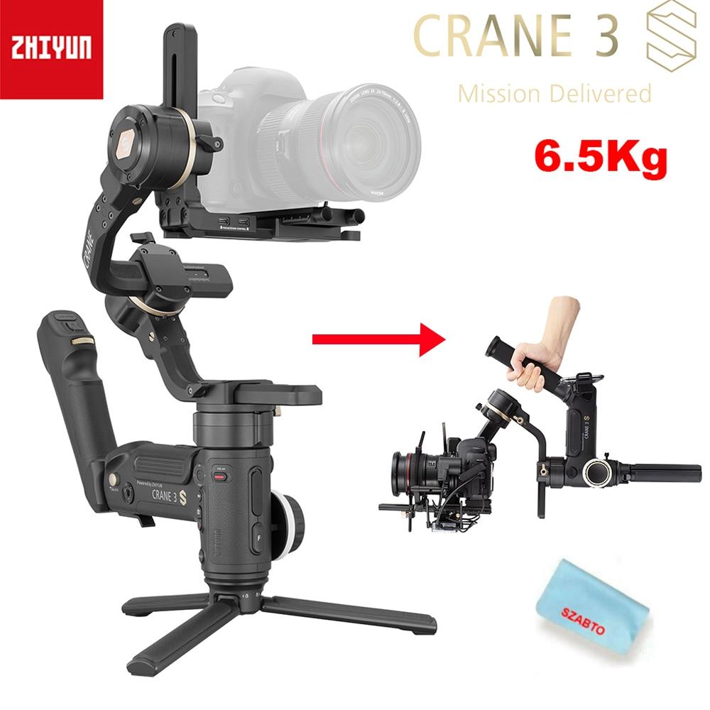 Zhiyun رافعة 3S / 3S-E 3-Asix يده مثبت أفقي 6.5 كجم أقصى حمولة لكاميرا السينما الرقمية الحمراء ، كاميرا SLR كاميرا متحركة