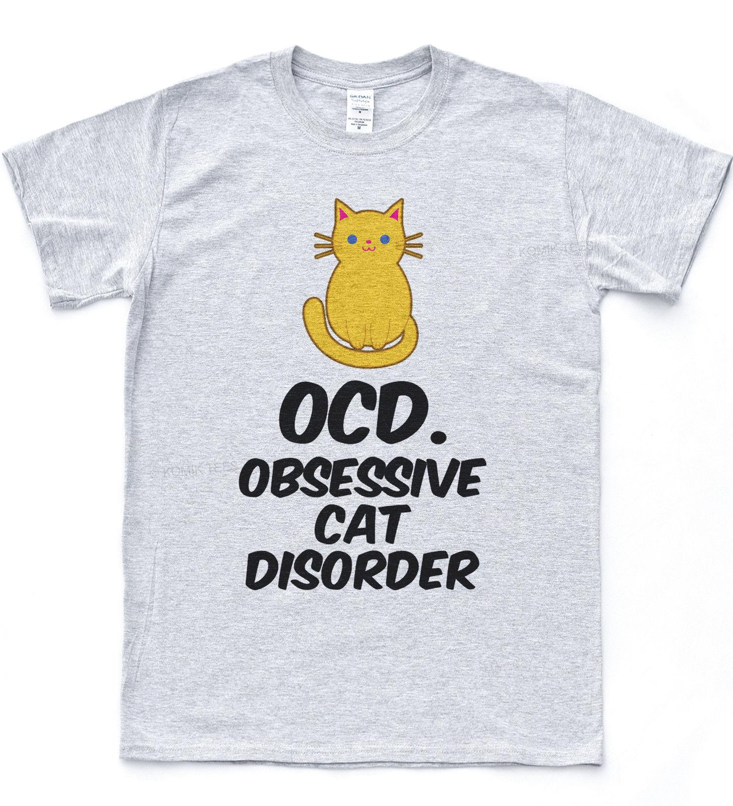 Trastorno obsesivo-compulsivo obsesivo gato trastorno camiseta felina Hipster estilo Miau gato superior
