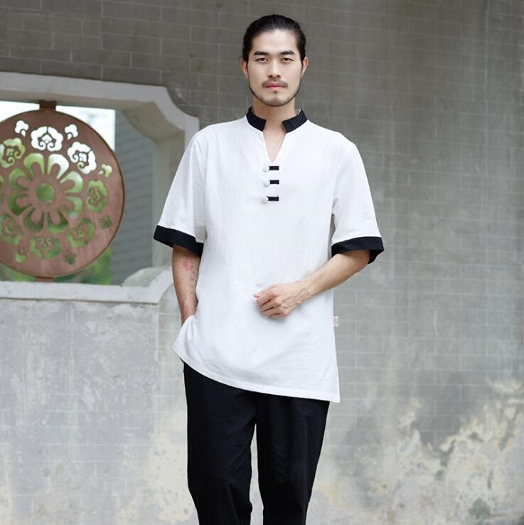 Pano respirável verão branco yoga terno algodão linho taiji meditação dos homens grupo monge viajar esporte chá arte música folclórica suave
