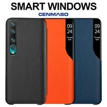 for Xiaomi Mi 10 Pro 5G Global Version Case Clear Window Case CENMASO Original Mirror Smart View Genuine Leather Flip Cover