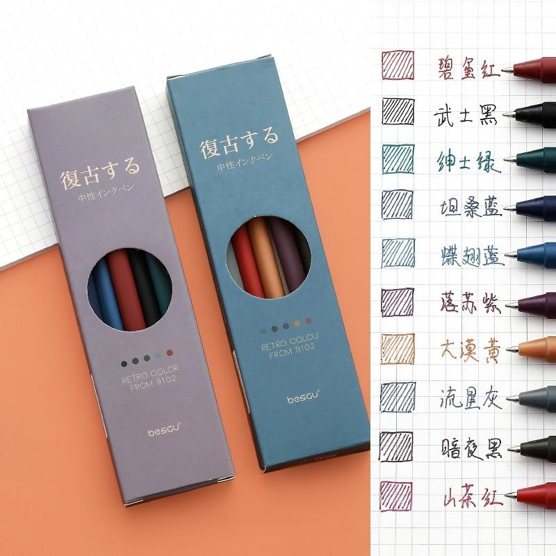 AliExpress - 5pcs Retro Color Gel Pen Set 0.5mm Ballpoint Vintage Gray Purple Quick dry Ink Roller Ball Pens Marker Liner Office School F727