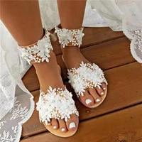 2021 womens sandals white lace embellished summer sandals for women slip on flat shoe female open toe slip on beach slipper