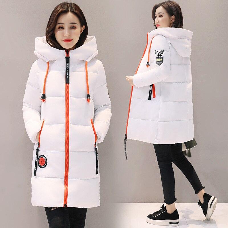 Зимняя одежда из хлопка в Корейском стиле 2020, Женская хлопковая одежда, облегающее и плотное пальто средней и длинной длины с капюшоном для ...