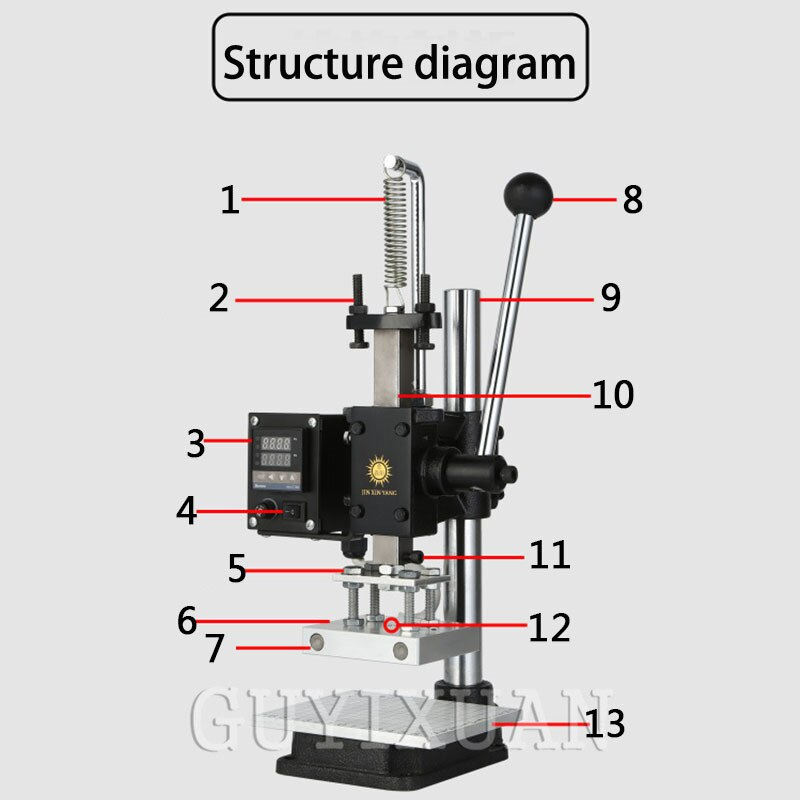 Multi-function Digital Display Hot Stamping Machine Leather Hot Stamping Machine Wallet Pressure Label Trademark Brand Hot Stamp enlarge