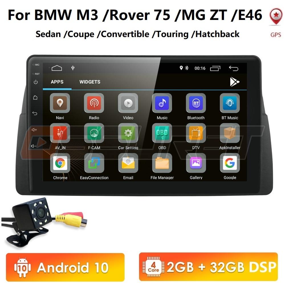 9 zoll 1024x600 HD Touchscreen 1 din Android10 Auto Multimedia Radio Stereo für BMW E46 M3 318 330 Wifi 4G Bluetooth DVR RDS USB