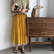 Alien Kitty Hot Brief Chic Sweet Chiffon 2020 Fashion Women Korean Solid A-Line High Waist Pleated Streetwear Loose Skirts