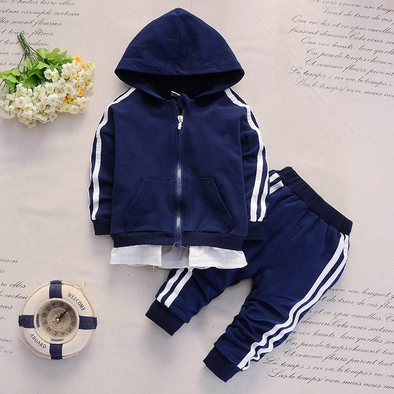 Купить с кэшбэком New Spring Baby Casual Boys Girls Cotton Hooded Jacket Pants 2Pcs/Sets Kids Fashion Suits  Infant Clothing Toddler Tracksuits