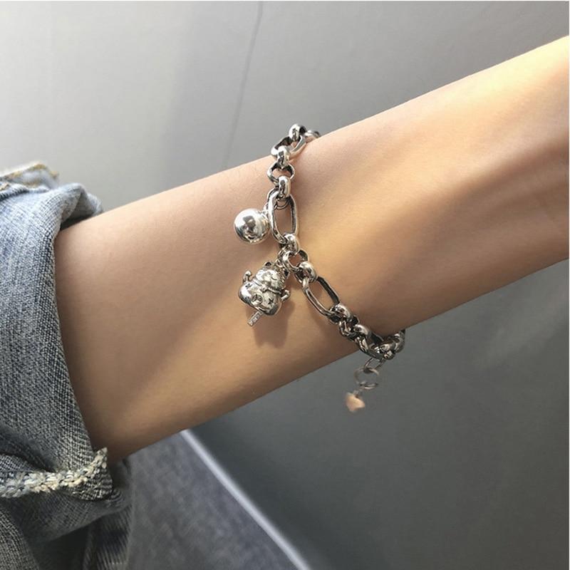 Hot Seller Lucky Cat Ball Chain Bracelet Female Unique Design Thai Silver Retro Temperament Fashion Jewelry Bracelets for Women