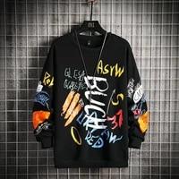 mens crewneck sweatshirt men 2021 graffiti oversized japanese streetwear hip hop black hoodie men sweatshirts hoodies