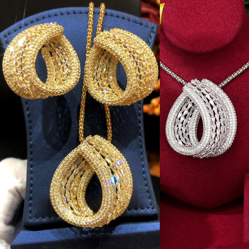 GODKI موضة كبيرة فاخرة ثلاثية الألوان قطرات بيان طقم مجوهرات للنساء حفل زفاف كامل الزركون دبي طقم مجوهرات الزفاف 2020