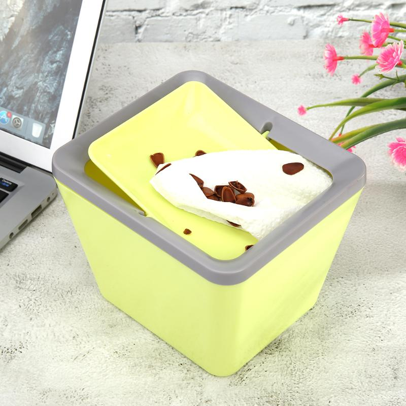 Mini tipo da aleta que gira o caixote de lixo do desktop da lata com tampa para o escritório em casa