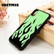 Iretmis 5 5S SE 6 6S TPU Souple En Silicone housse de téléphone pour iPhone 7 8 plus X Xs 11 Pro Max XR flamme verte