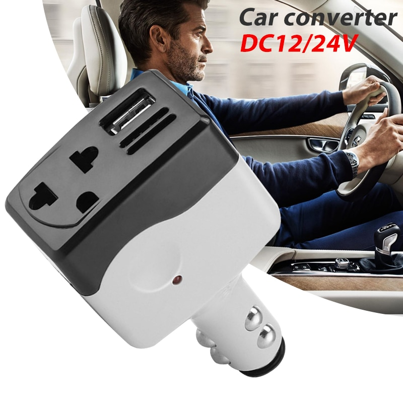 Cargador de coche adaptador Vehemo DC12/24 convertidor de coche eficiente inversor de coche USB Interior Salida de adaptador de coche