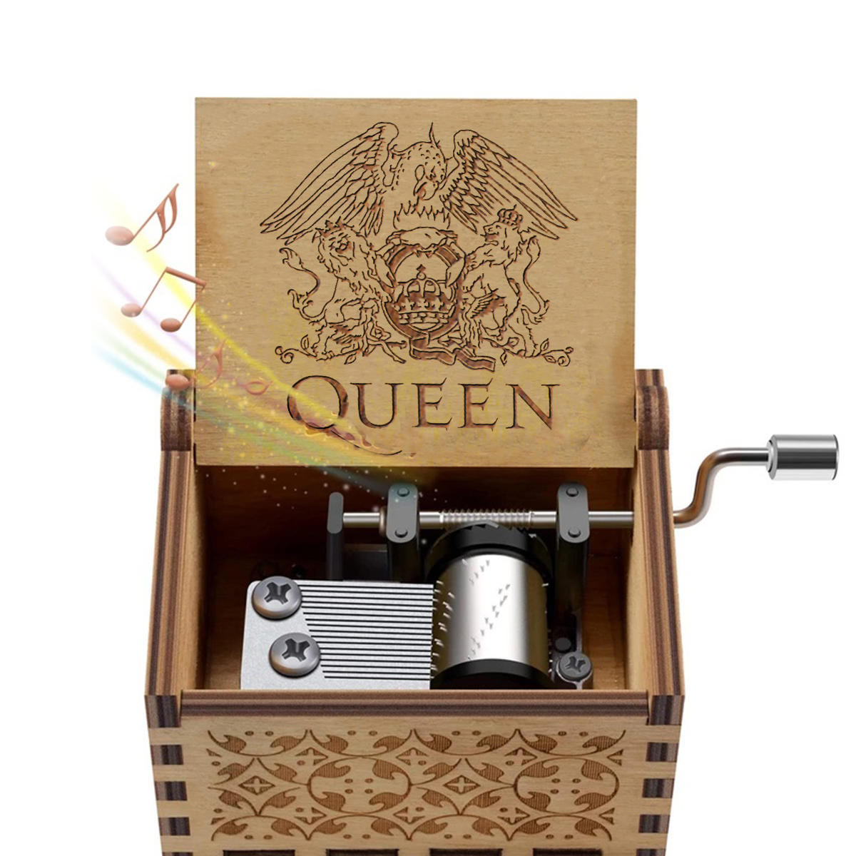 Hand Crank Wooden Engraved Queen Music Box Kids Christmas Ornament Gift 64*52mm