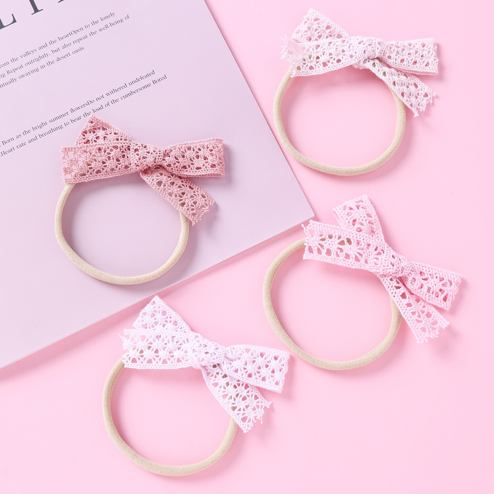 10pcs/Lot Nylon Baby Headbands For Children Hollow Fabric Bow Knot Soft Headband For Girls Kids Hair Accessories Spring Summer