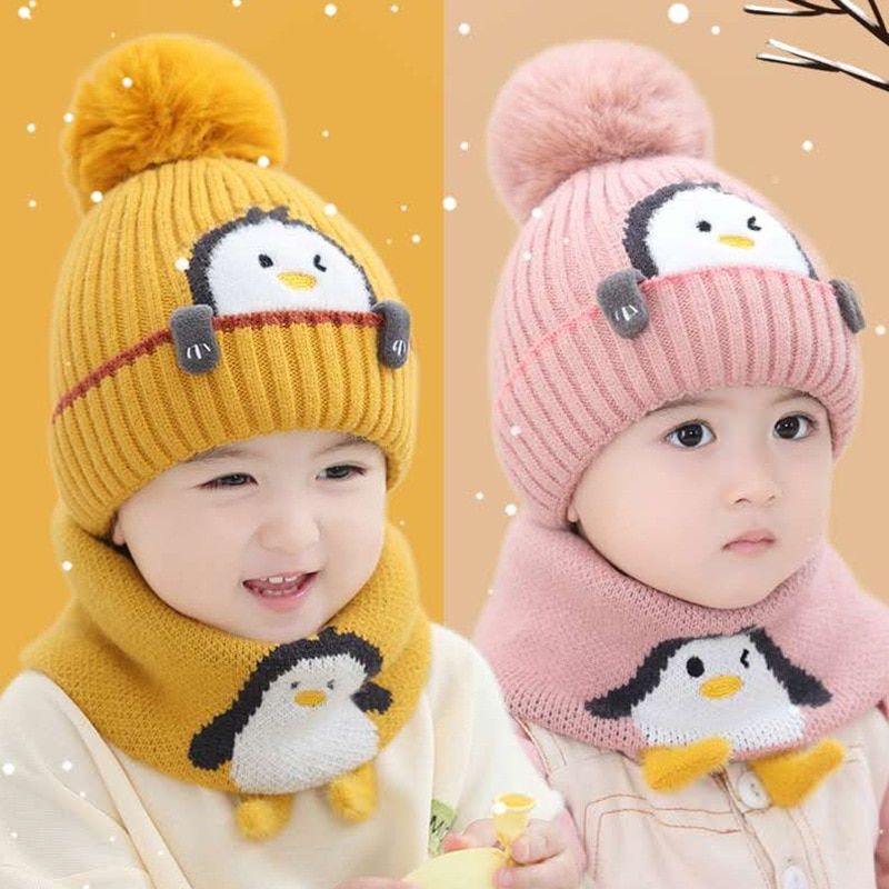 Winter New Cute Cartoon Penguin Baby Hat Children Scarf Set Warm Hat Boys and Girls Knitted Hat