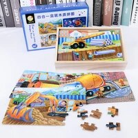 wooden box 4 in 1 advanced jigsaw puzzle intelligence large pieces jigsaw puzzle educational early childhood wood toys gifts