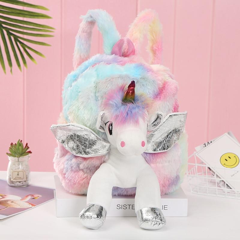 Детские плюшевые рюкзаки с единорогом, милые модные меховые рюкзаки для девочек, дорожный Рюкзак Kawaii, Детские 3D рюкзаки с рисунком