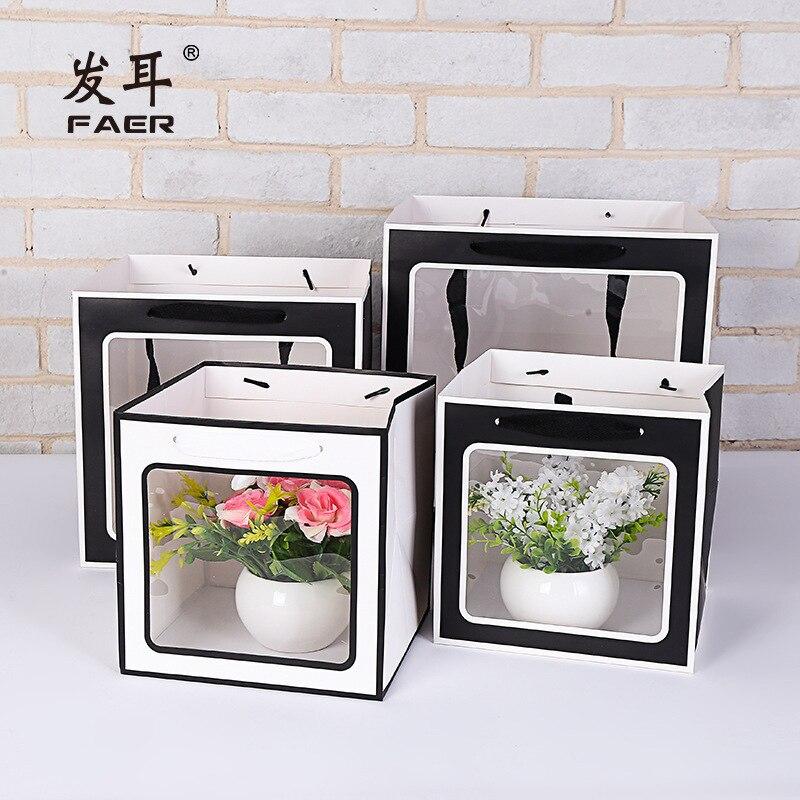 Bolsa de regalo grande, bolsa de papel transparente de flores para boda,...