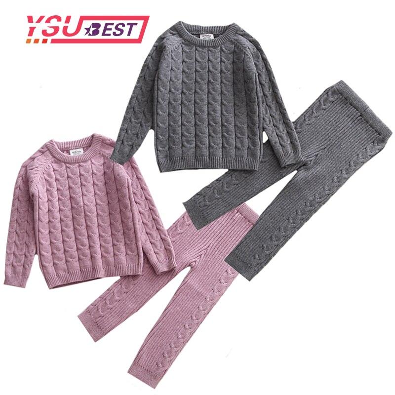 Conjunto de ropa para bebé, jersey tejido, ropa para niñas, ropa para niños, suéter y pantalones, conjunto de ropa de Boutique para niños