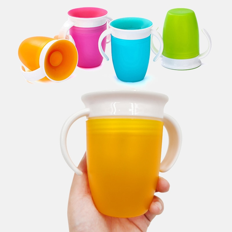 Taza para beber de aprendizaje para bebé rotatoria de 360 grados, con tapa abatible de doble manija, taza mágica a prueba de fugas, tazas de alimentación de agua para niños, botella
