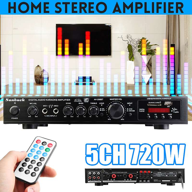 720W 5 canal Bluetooth Amplificador estéreo de alta fidelidad LED Karaoke Digital...