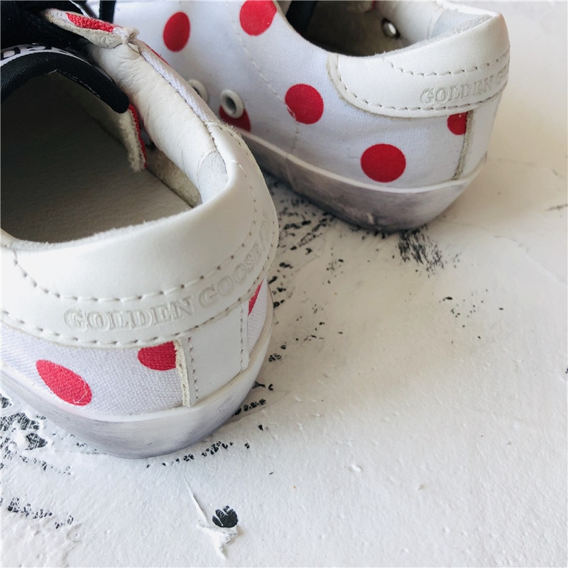 2021 Spring and Summer New First Layer Cowhide Children's  Dirty Shoes Girls Retro Polka Dot Canvas Kids Sneakers CS186 enlarge