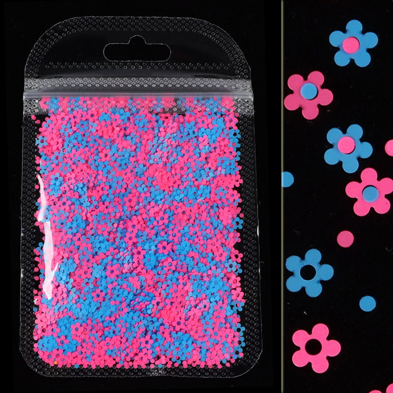 Mixed Colors 4MM Neon Flower Nail Sequins Fluorescence Sparkly Glitter Flakes Nail Art Slices Gel Polish Manicure 3D Decorations