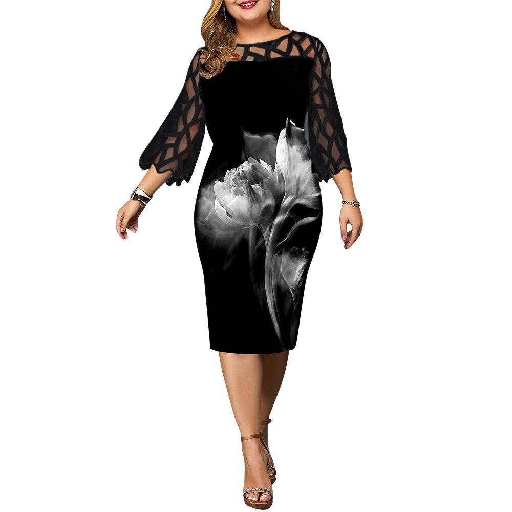 6xl plus size vestido de manga geométrica translúcida vestido para as mulheres do vintage floral impresso vestido de festa vestidos elegantes d30