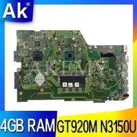 AKEMY X751SJ original mainboard For Asus X751S X751SJ X751SV A751S K751S with GT920M N3150U 4GB RAM Laptop motherboard