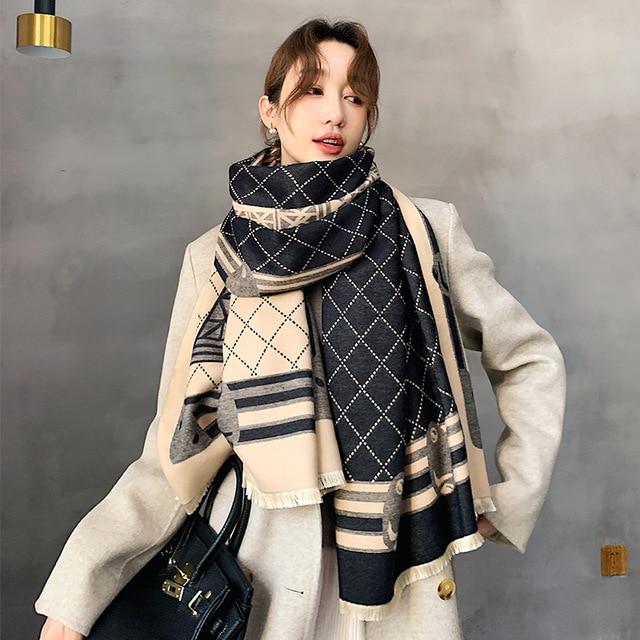2021 Design Cashmere Winter Scarf Winter Shawls Thick Warm Lady Scarves Pashmina Wraps Print Female Stoles