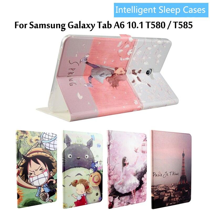 Fashion painted Pu leder stehen halter Abdeckung Fall Für Samsung Galaxy Tab EINE A6 10,1 2016 T585 T580 T580N tablet