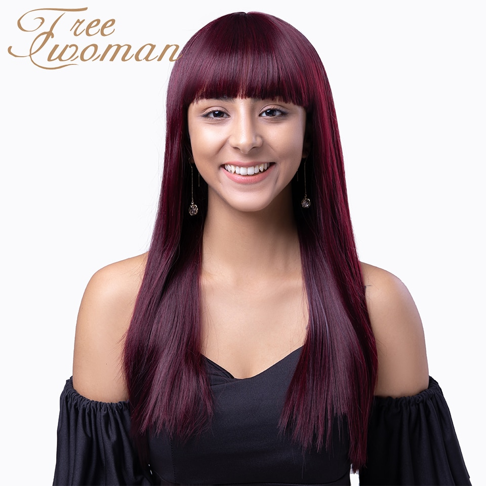 FREEWOMAN Straight Hair with Bangs Dark Red Long Synthetic Cosplay Daily Wigs Heat Resistant Female Wigs for White /Black Women