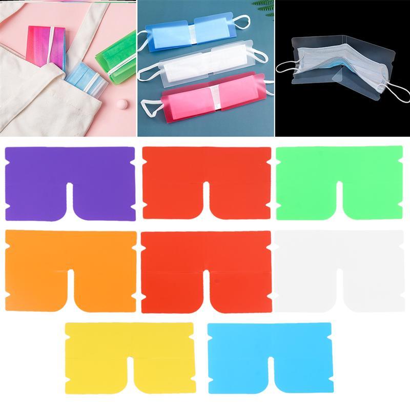Clip de almacenamiento para mascarillas reutilizable, 14 Uds., Clip de almacenamiento plegable para mascarillas, Clip de almacenamiento anti-infecciones para uso diario (colores combinados)