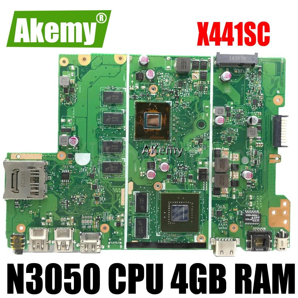 X441SC اللوحة الأم N15V-GL1-KA-A2 N3050 CPU 4GB RAM اللوحة الرئيسية REV2.0 ل For For For Asus X441S X441SC اللوحة الأم للكمبيوتر المحمول 100% اختبارها