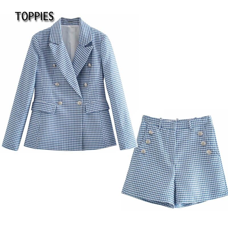 Toppies 2021 Summer Shorts Suit Set Woman Plaid Blazer and High Waist Shorts conjuntos de mujer Ladies Leisure Two Piece Set