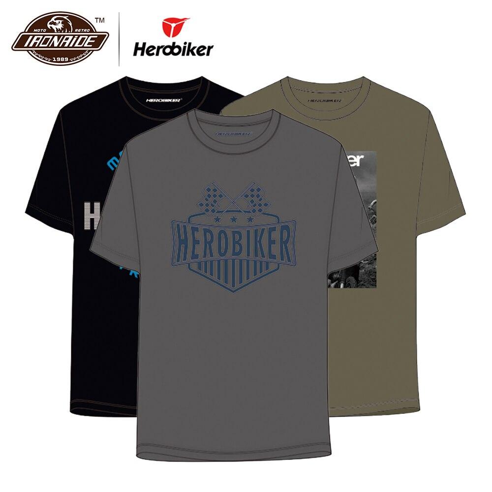 HEROBIKER Men Motorcycle T-shirt Moto Racing Short T-Shirt Motorbike Motocross Sports Jersey Fashion Quick-drying Shirt Summer