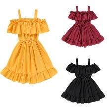 Filles dété Robe De Plage Robes de Princesse Pour Les Filles Adolescentes Hors Épaule Vêtements Pour Enfants 1-6 Ans Enfants Décontracté Robes Dété Pour Fille