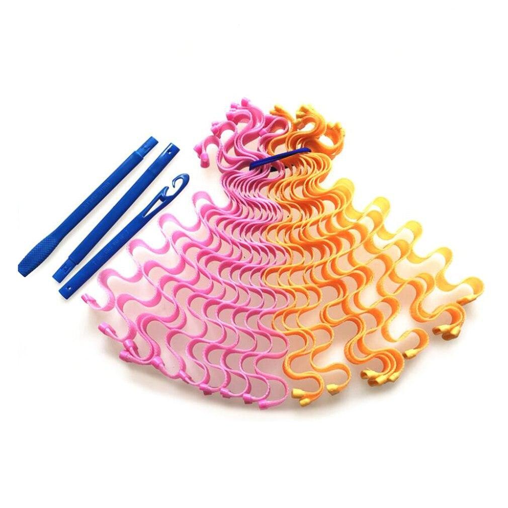55 Rollos Largos de 12 huevos, rollo de ondas de agua, Manual Diy, no daña el pelo, Rollo espiral, rodillo mágico Qq, rollo de plástico