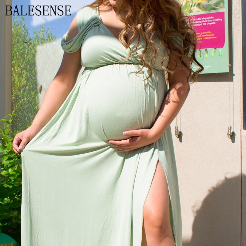 Cotton Maternity Long Dresses Photography Summer Sexy Off The Shoulder Split Maternity Clothes Pregnancy Dress for Baby Shower enlarge