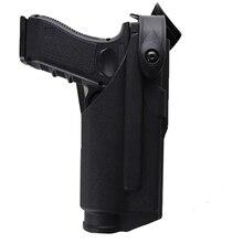 Pistolera militar táctica para arma de combate apta para Glock 17 18 19 22 23 31 32 cinturón pistolera de mano derecha con cubierta de luz táctica