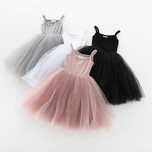 Kids Summer Dresses for 3-8T Girls Children Birthday Party Mesh Dress Princess Roupas Sleeveless Casual Dresses for Little Girls
