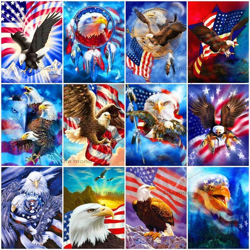 5D Full Drill Diamond Painting Eagle Flag Cross Stitch Kits Rhinestone Embroidery Animal Mosaic Handicraft Home Decor