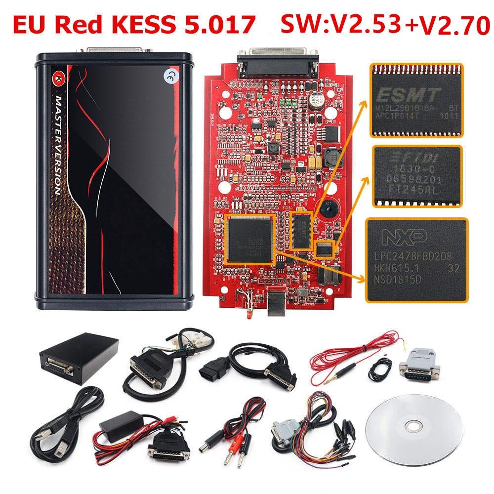 Kit KESS KTAG Kess 5.017 2.8/2.47 7.020 ماسح ضوئي رئيسي ، PCB أحمر ، تحديث KESS V4.036 K tag V7.020 2.25