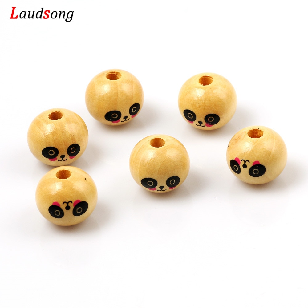 10 pçs panda e gato de madeira natural contas redondas 20mm bolas espaçador solta contas para fazer jóias diy crianças jóias acessórios