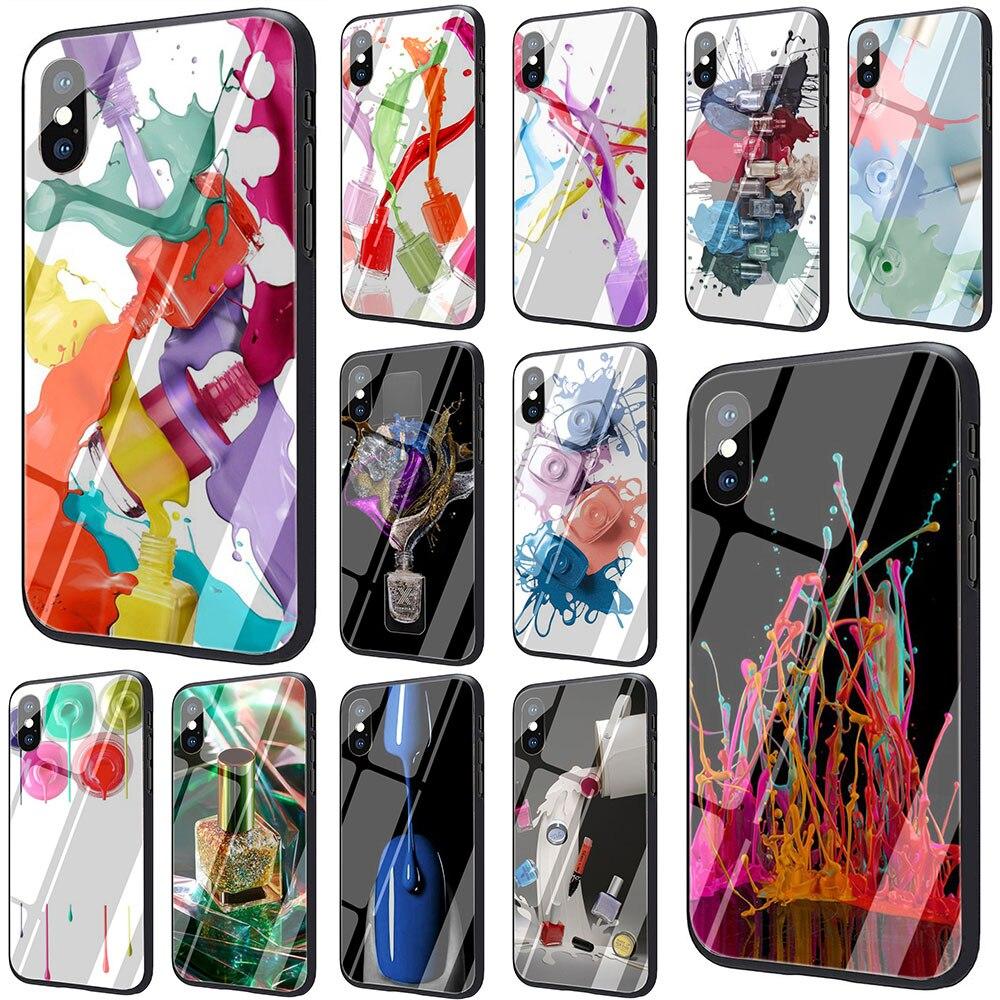 EWAU, juego de botellas de esmalte de uñas multicolor, carcasa de vidrio templado para iPhone SE 2020 11 Pro 6S 7 8 Plus X XR XS Max