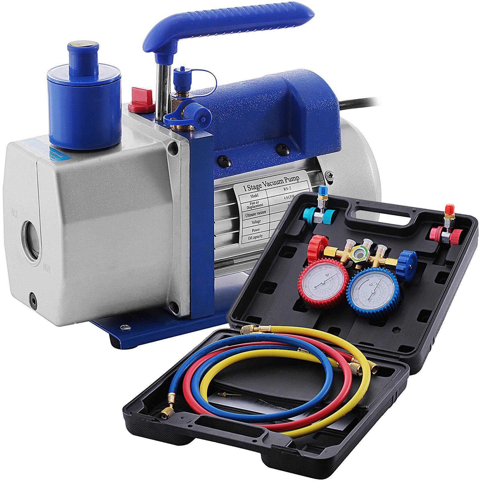 VEVOR 4.8CFM 1/3HP مضخة تفريغ دوارة + 4 صمام مجموعة قياس متعددة ، HVAC المبردات تكييف الهواء R22 R134A R410A