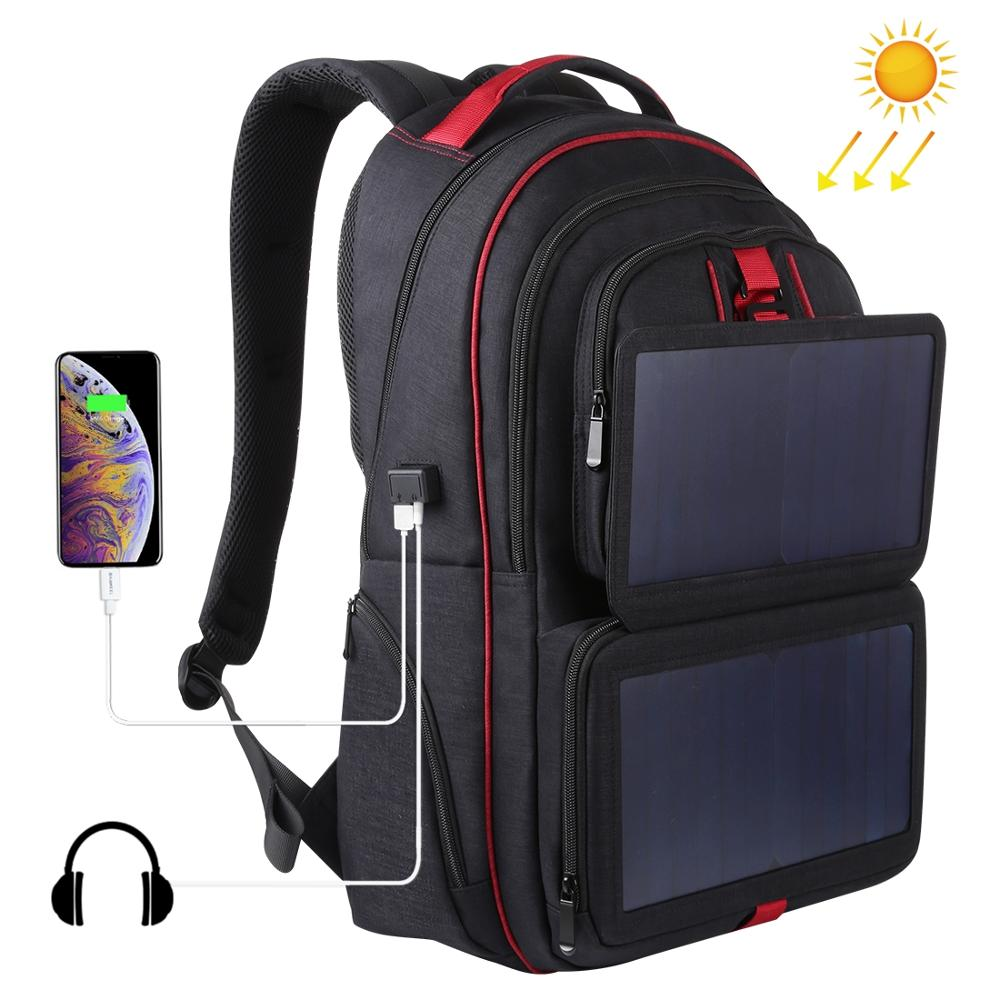 HAWEEL 14W Foldable Solar Power Charger Outdoor Portable Canvas Dual Shoulders Laptop Backpack, USB Output: 5V 2.1A Max