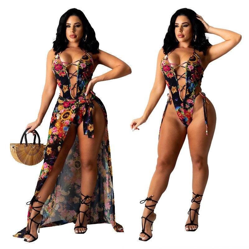 الصيف مثير مجموعة البكيني النساء 2021 الأزهار طباعة ملابس السباحة و تعادل تنورة Cover 2 قطعة ملابس السباحة ملابس الشاطئ ضمادة ثوب السباحة