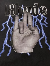Rhude Finger Tees Faded Short Sleeve T-Shirt Men Women HipHop 100% Cotton Washed Oversized T Shirt Men